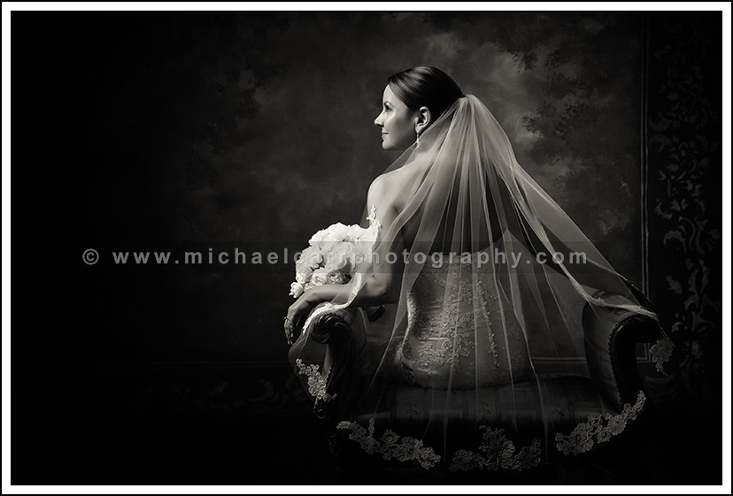 Contemporary black & white bridal portrait